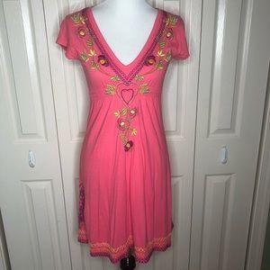 Johnny Was JWLA Pink Embroidered V-Neck Dress
